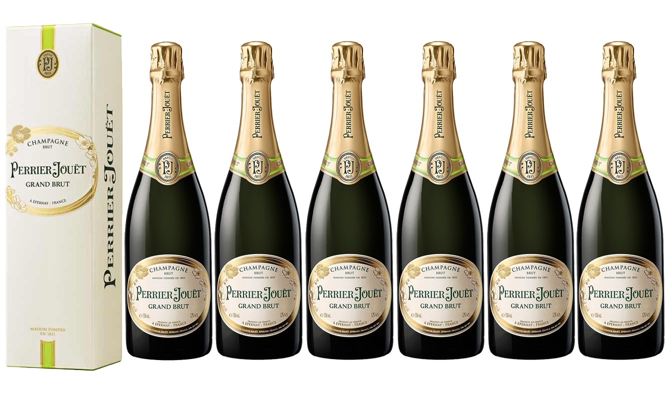 Lot 6 Champagnes Perrier-Jouët Grand Brut 75cl avec étuis.