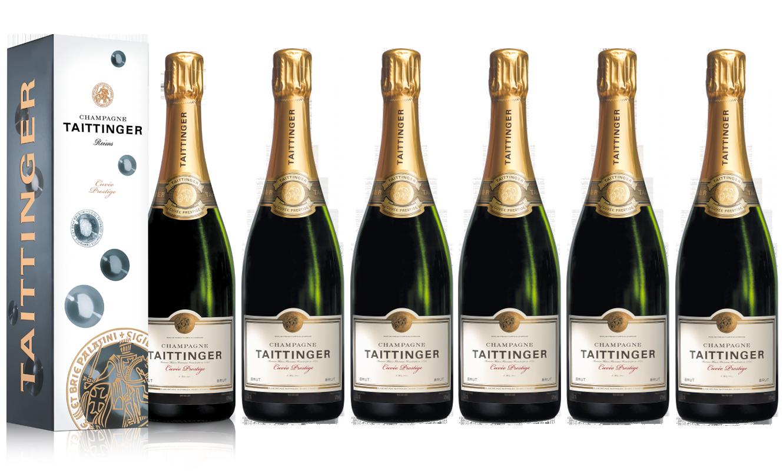 Lot 6 Champagnes Taittinger Brut Cuvée Prestige 75cl Etuis.