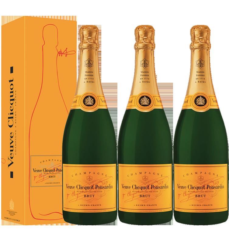 Lot 3 Champagnes Veuve Clicquot Brut Carte Jaune 75cl avec étuis