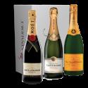 Coffret Champagne Prestige - Moët, Veuve Clicquot, Taittinger.