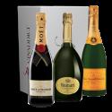 Coffret Champagne Prestige 2 - Moët, Ruinart, Veuve Clicquot.