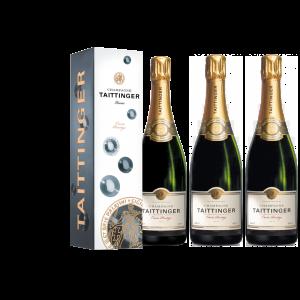 Lot 3 Champagnes Taittinger Brut Cuvée Prestige 75cl Etuis.