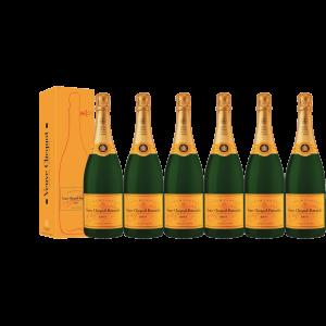 Lot 6 Champagnes Veuve Clicquot Brut Carte Jaune 75cl avec étuis
